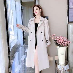 Women's Trench Coats WEIHAOBANG 2021 Autumn Winter Windbreaker Solid Color Lapel Double Row Buckle Lace Up Pocket Long Loose Coat