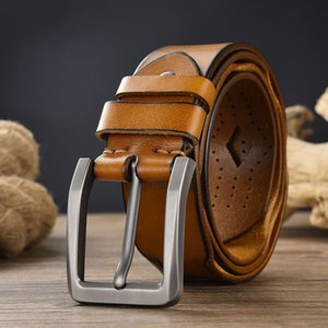 Leather pin buckle belt for men and women