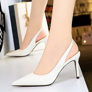 Big size 34 to 40 41 42 43 Concise strappy sling back pointy stiletto heels wedding shoes 8cm multi colors