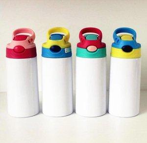 12oz sublimação garrafa de água em branco 350ml crianças retas copo de aço inoxidável isolado miúdos garrafas de crianças com tampa de palha