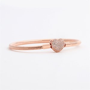 Luxury Fashion 18K Rose gold CZ diamond Heart Bracelets Original box for Pandora 925 Silver Smooth Snake Chain Bracelet 55 M2