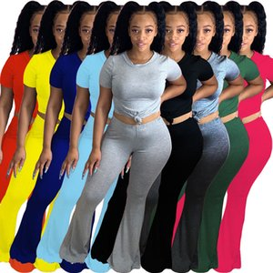 2021 new fashion sexy solid color cute two piece sets summer Women Slim Tracksuit round neck Short sleeve Top Flare Pants Hot selling Suit