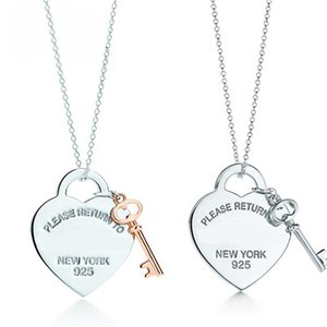 2020! Tif 925 Sterling Silver Heart-shaped Key Lock Pendant Necklace Exquisite Clavicle Chain, Her Heart Only You Can Open