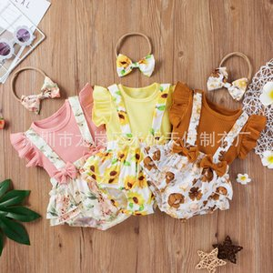 Sets Children's suit baby summer flying sleeve top T-shirt + printed shoulder triangle skirt