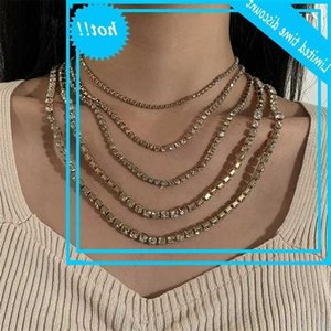 Multilayered Crystal Link Chain Necklaces for Women Iced Out Rapper Bling Rhinestone Choker Necklace Luxury Jewelry Gift 2021
