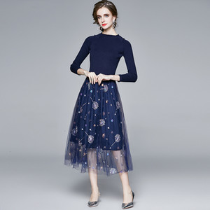 2021 New High Quality Autumn Winter Woman Clothes Fashion Runway Designers Stand Neck Embroidery Mesh Patchwork Midi Knit Sweater MJ6W