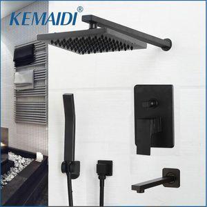 Kemaidi Matte Black Ducha Faucets Set Rain Oculted Bathtub System Sistema de ducha Montaje de pared Bañera mezcladora Combo Conjunto