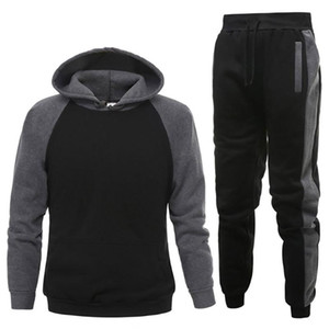Men Sets Sports Jogging Outfits Hooded Hoodie Mens Tracksuit Sets Tops+Pants Suit Sportswear Mens Joggers Set