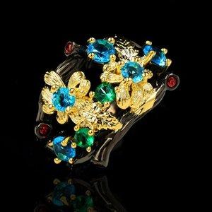 Кластерные кольца винтажные черные золотые античные свадебные кольца кольцо для женщин цветочные ветви стиль 925 серебряный сапфир подарок