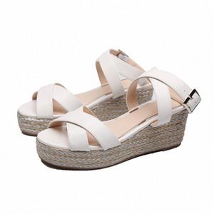 Summer Sandals Women Fashion Cross Strap Sandals Buckle High Heel Shoes Wedges Platform Ankle Strap Q1ed#