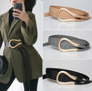 Fashion Women Gold Metal Belts Curved Large Horseshoe Buckle Microfiber Leather Double Belt For Coat ps0582