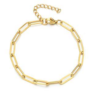 Luxury Designer Zmzy Boho Rvs Chaining Bracelets for Man Women Gold Color Jewelry Diy Oval Chain Adjustable