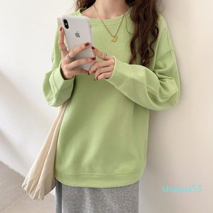 Women's Hoodies & Sweatshirts Make Fleece Han Edition During The Spring And Autumn Winter Round Collar On Wear Loose Clothes Pure Color Long