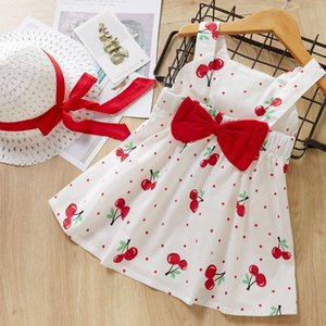 Melario Children's Clothing Baby Girl Clothes Summer Party Clothing for Girls Dress Cherry Dot Princess Dresses Bow Hat Outfits 210317