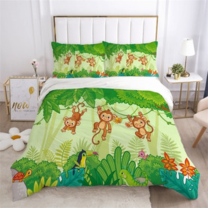Cartoon Bedding Set for Kids Boys Girls Children baby Crib Duvet Cover Set Pillowcase Blanket Quilt Cover Single Naughty monkey C0223