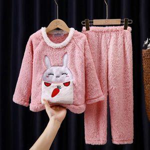 Pajamas Autumn Winter Flannel Warm Toddler Sleepwear Baby Girls Clothes Set For Children's Clothing Plush Kids Homewear Suit