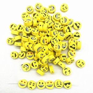 100pcs 10mm Yellow Smiling Face Beads Polymer Clay Spacer Loose Beads for Jewelry Making DIY Bracelet Accessories
