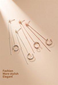 100% 925 Sterling Silver C Shaped Double Line Clip On Earrings Long Tassel Ear Cuff Earrings For Women Punk Jewelry