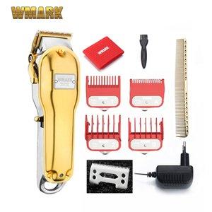 Ng- VARKI Hepsi Metal Akülü Saç Kesme Saç Kesme Makinesi Elektrikli Düzeltici 2500 mAh Akülü Saç Kesici Altın Renk 210302