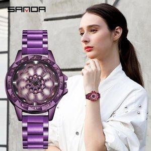 Wristwatches SANDA Rotate Dial Watch Women Top Luxury Crystal Ladies Watches 30M Waterproof Japenese Movement Dress Clock Relogio Feminino