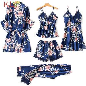 5 piezas Mujeres Pijamas Conjuntos Satin Sleapwear Seda Ropa de dormir Pijama Femme Encaje Floral Imprimir Lencería Sleep Lounge Pijama 2020 19DC Y200425