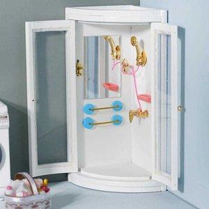 Dollhouse Miniature Furniture White Bathroom Shower Room 1:12 Doll House Decoration Simulation Toy