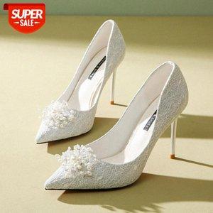 أحذية الزفاف النساء 2020 جديد عالية الكعب الترتر أشار أحذية واحدة الدانتيل الزفاف الوردي رقيقة كعب الفرنسية وصيفه الشرف # 0323