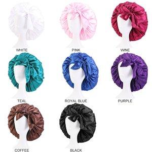 Extra Large Candt Color Satin Bonnet Women Night Sleep Cap Adjustable Wide Band Elastic Head Wrap Hair Hat