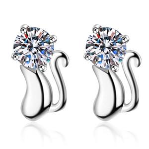 ANZIW 925 Sterling Silber Runde Schnitt Moissanit Diamant Maus Ohrstecker Tier Ohrstecker Für Frauen Hochzeit Jewery