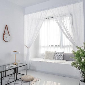 Curtain & Drapes MCAO Punch-Free Sheer White Window Curtains Self-Adhesive Beautiful Stars Voiles For Living Bedroom TJ6782