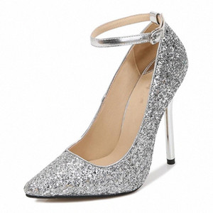LLXF Zapatos Mujer 13cm Thin Heels Buckle Stiletto Bing Sequins Shoes Woman Dress Pointed Toe Cosplay Ankle Strap Pumps US11 12 g7Xc#