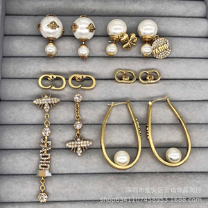 d Family Earrings   Dijia New Pearl Cd Letter Bee Inlaid Diamond Asymmetric Net Red Same