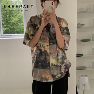 Women's Blouses Vintage Oil Painting Women Shirts Summer Short Sleeve Blouse Button Up Collar Shirt Korean Flower Shirt Women 2021