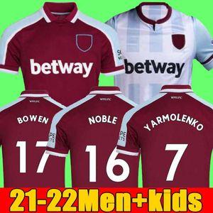 21 22 West Soccer Jerseys Ham 2021 2022 United Home Away YARMOLENKO LANZINI NOBLE BOWEN ANTONIO Football Shirt FORNALS CRESSWELL Mens + Kids Kit set Jersey LINGARD