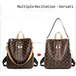 Multi function PU leather backpack handbag tote shoulder bags Vintage retro flower large capacity duffle purses travel sport storage bag pack zipper pocket G96X4K1