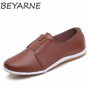 Beyarne été Femmes Découpez Sneakers Femme Véritable Cuir Mocaafers Femme Chaussures Low Heels Femmes Chaussures à plates blanches Femmes Chaussures Femmes Dames Oxfords U8K4 #