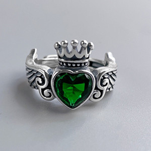2021 New Real S925 Sterling Sier Wings Love Woman Ring Simple Emerald Fashion Jewelry Ladies Gifts Vre5