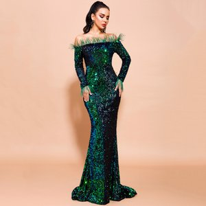2021 Sexy Off Shoulder Feather Long Sleeve Sequin Dress Floor Length Evening Party Maxi Reflective Dresses Pure Black