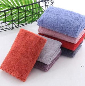 Coral Fleece Towel Solid Color Cleaning Square Wiping Hands Absorbent Turban Washcloths Home Cleaning Towels Wipe Face Hand HWD5110
