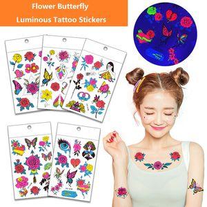 Luminous Butterfly Temporary Tattoo Stickers Waterproof Body Art kids Boy and girl Tattoo Stickers Health Beauty Product BK533