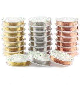 0.2-1mm Silver / Gold / Gold Gold Wire del cobre para el collar de la pulsera DIY Colorfast Beading Wire Beyry Cord Cadena para la fabricación de artesanía