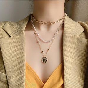 Colar de pingentes de pérola de moedas multi-camadas para mulheres CRETE CENTA Corrente de pescoço não pode dividir a cadeia de colar