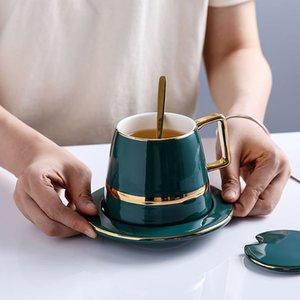 Copos de café de cerâmica luxuoso europeu conjuntos com prato de prato de prato de prato de presente terno canecas de chá de leite chá verde bebida 450ml