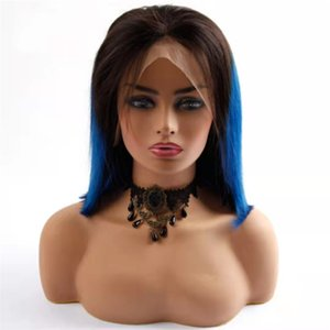 Brazilian Straight Blue BOB Short Lace Front Human Hair Wigs Ombre Colored #1B Blue Wig Pre Plucked With Baby Hairs