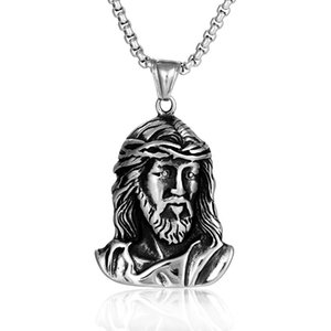 Fashion Silver Mens Necklace Jewelry Fashion High Quality Stainless Steel JESUS Pendant Necklace Hip Hop Necklace Jewelry