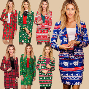 Women Fashion Clothing Printed Suit Long-sleeved Slim Coat + Short Skirt Two-piece Suit Sweater Warm New