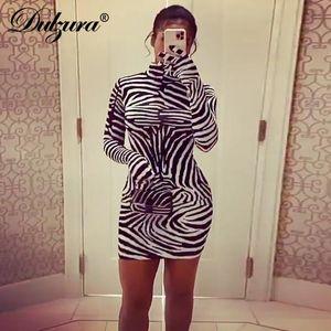 Dulzura Zebra 인쇄 여성 미니 드레스 긴 소매 장갑 Turtleneck Bodycon 섹시한 스트리트웨어 2021 가을 겨울 슬림 클럽