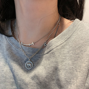 925 Sterling Silver Customized Thai Silver Smiley Face XINGX Necklace Female Ins Hip Hop Elephant Clavicle Chain Simple Vintage Sweater Chai