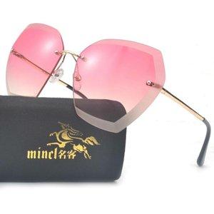 Mincl / Sonnenbrillen für Frauen Übergroßen Randlose Diamantschneidlinse Sonnenbrille LXL