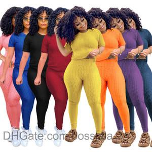 Летние женские ананасные ткани йоги брюки двух частей наборы трексуиты повседневная короткая рукава шорты костюм горячие продажи 2021 xs-xxxl